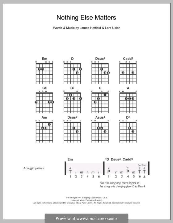 Nothing Else Matters (Metallica): For guitar by James Hetfield, Lars Ulrich