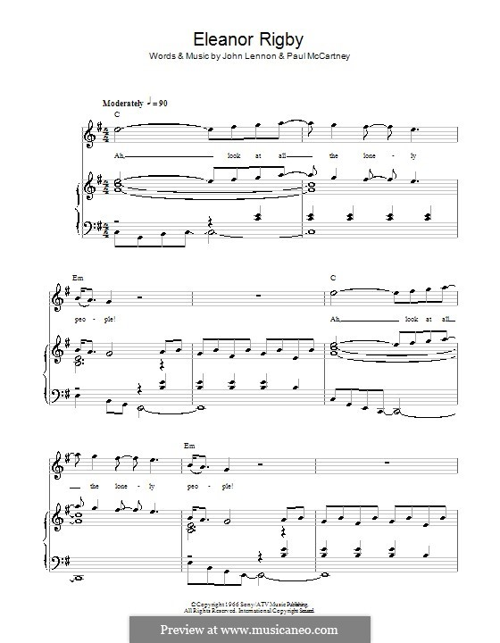 Eleanor Rigby (The Beatles): For voice and piano or guitar by John Lennon, Paul McCartney