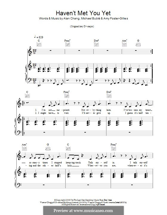 Haven't Met You Yet: For voice and piano (or guitar) by Alan Chang, Amy Foster-Gillies, Michael Bublé