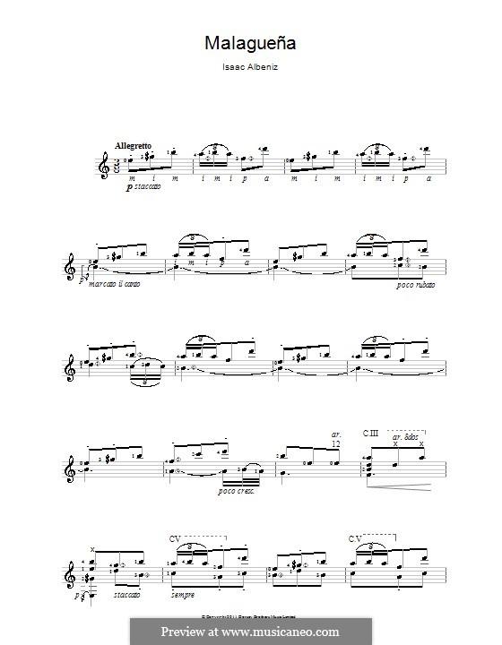 No.3 Malagueña: For guitar by Isaac Albéniz