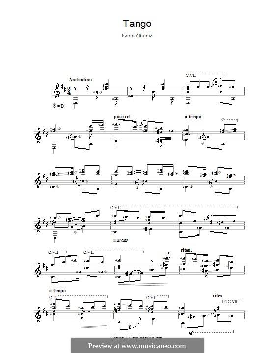 No.2 Tango: For guitar by Isaac Albéniz