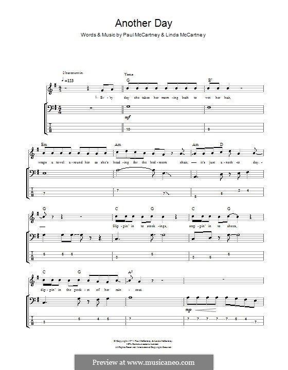 Another Day: For bass guitar with tab by Linda McCartney, Paul McCartney