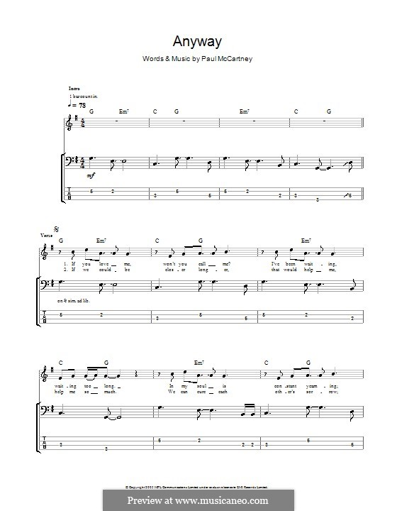 Anyway: For bass guitar with tab by Paul McCartney