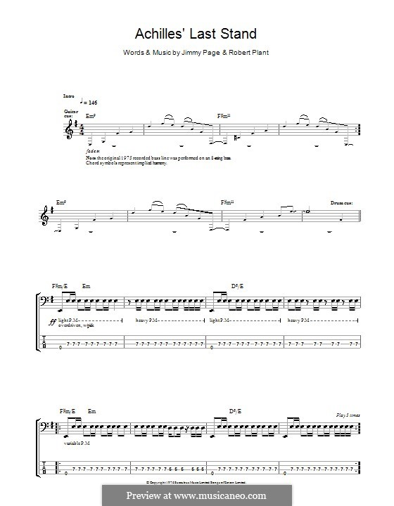 Achilles Last Stand (Led Zeppelin): For bass guitar with tab  by Jimmy Page, Robert Plant