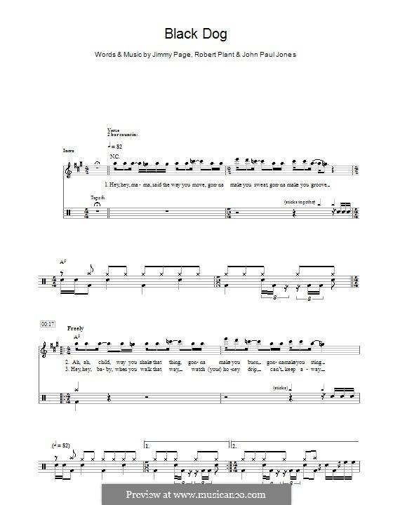 Black Dog (Led Zeppelin): For drums by John Paul Jones, Jimmy Page, Robert Plant