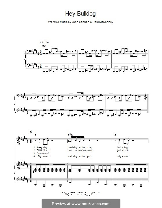 Hey Bulldog (The Beatles): For voice and piano or guitar (B Major) by John Lennon, Paul McCartney