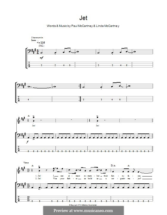 Jet (Wings): For bass guitar with tab by Linda McCartney, Paul McCartney