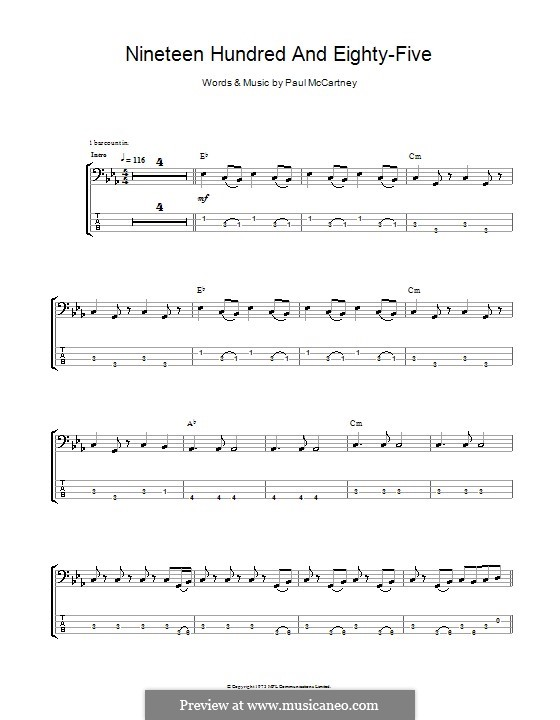 Nineteen Hundred and Eighty Five (Wings): For bass guitar with tab by Paul McCartney