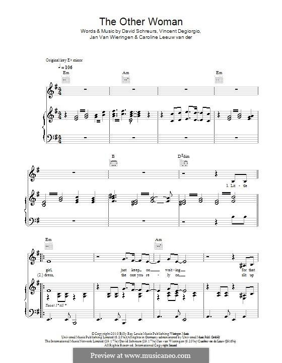The Other Woman (Caro Emerald): For voice and piano (or guitar) by Caroline van der Leeuw, David Schreurs, Jan Van Wieringen, Vincent Degiorgio