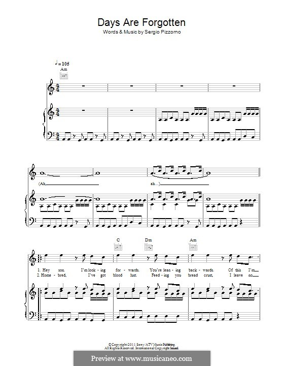 Days Are Forgotten (Kasabian): For voice and piano (or guitar) by Sergio Pizzorno