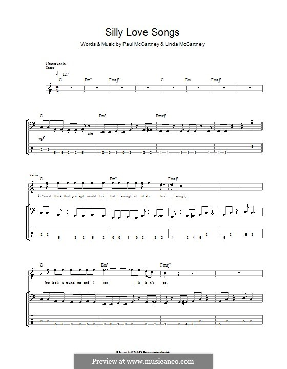 Silly Love Songs (Wings): For bass guitar with tab by Linda McCartney, Paul McCartney