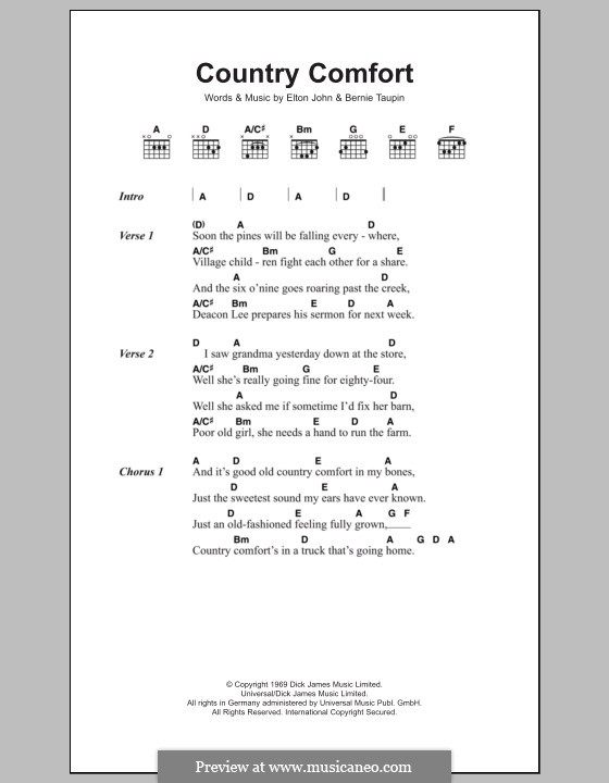 Country Comfort: Lyrics and chords by Elton John