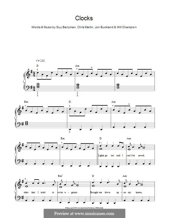 Clocks (Coldplay): For easy piano by Chris Martin, Guy Berryman, Jonny Buckland, Will Champion