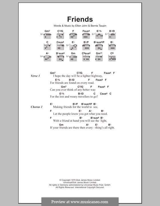Friends: Lyrics and chords by Elton John