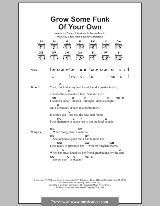 Grow Some Funk of Your Own: Lyrics and chords by Davey Johnstone, Elton John