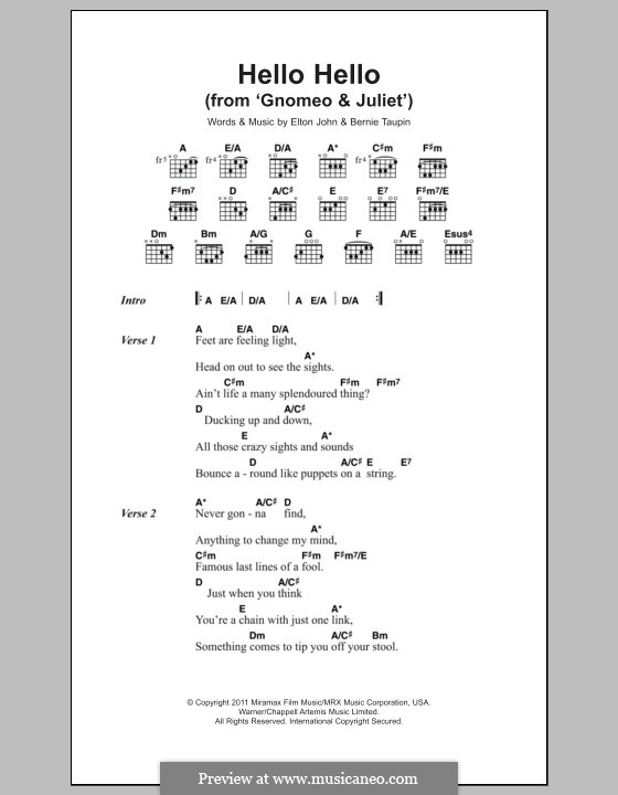 Hello Hello (from Gnomeo and Juliet): Lyrics and chords by Elton John