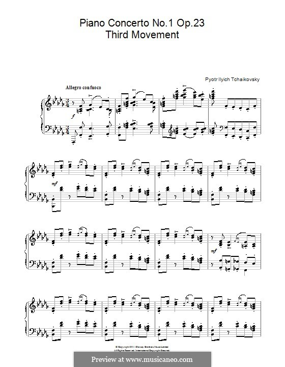 Concerto for Piano and Orchestra No.1 in B Flat Minor, TH 55 Op.23: Movement III. Arrangement for piano by Pyotr Tchaikovsky