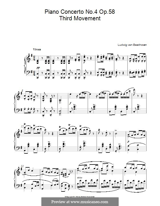 Fragments: Movement III. Version for piano by Ludwig van Beethoven