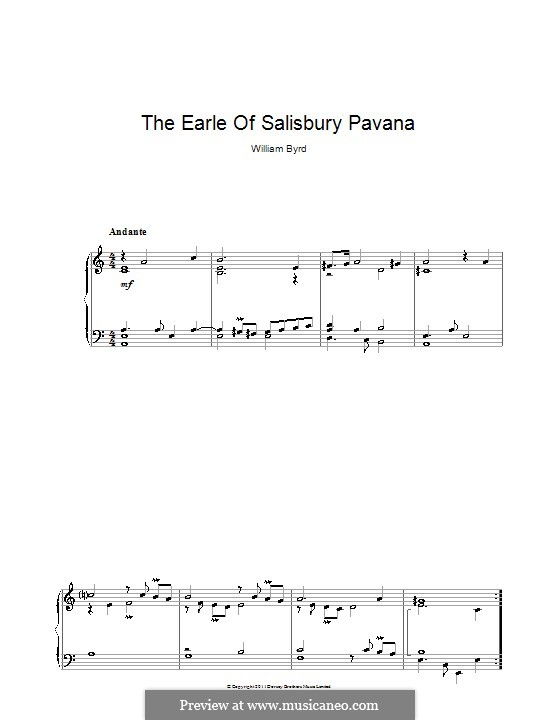 The Earle of Salisbury Pavana: For piano by William Byrd