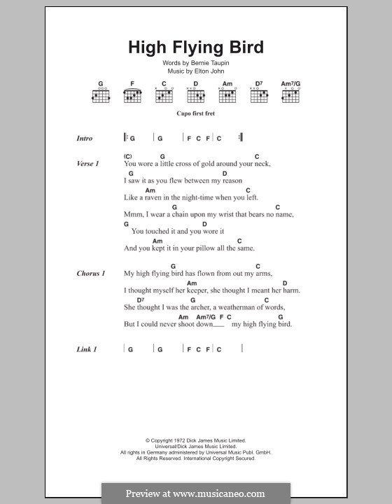 High Flying Bird: Lyrics and chords by Elton John