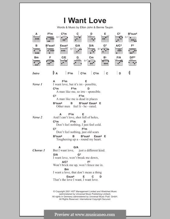 I Want Love: Lyrics and chords by Elton John