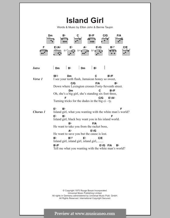 Island Girl: Lyrics and chords by Elton John