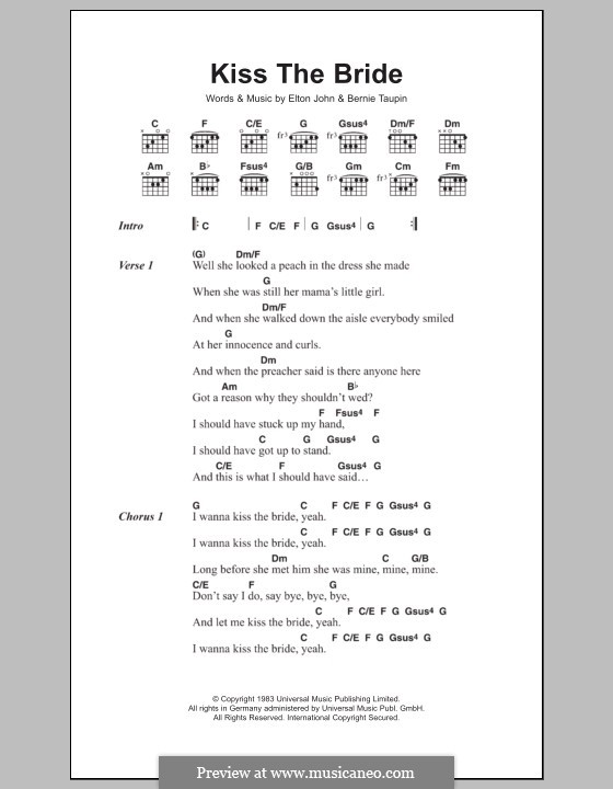 Kiss the Bride: Lyrics and chords by Elton John