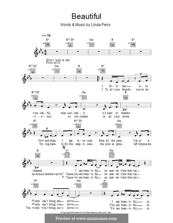 Beautifull (Christina Aguilera & Beverly McClellan): Melody line, lyrics and chords by Linda Perry