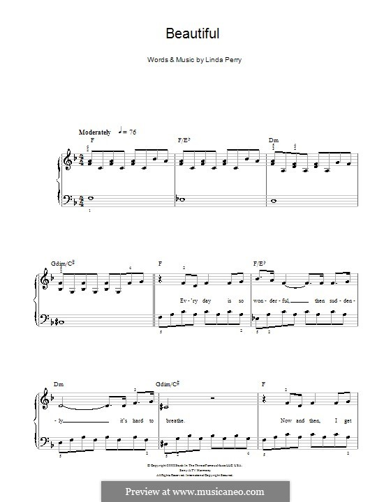 Beautifull (Christina Aguilera & Beverly McClellan): For easy piano (F Major) by Linda Perry