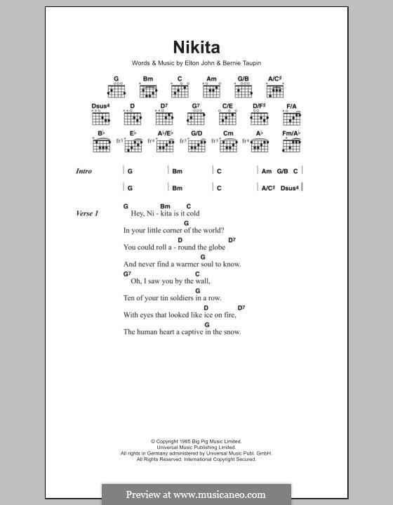 Nikita: Lyrics and chords by Elton John