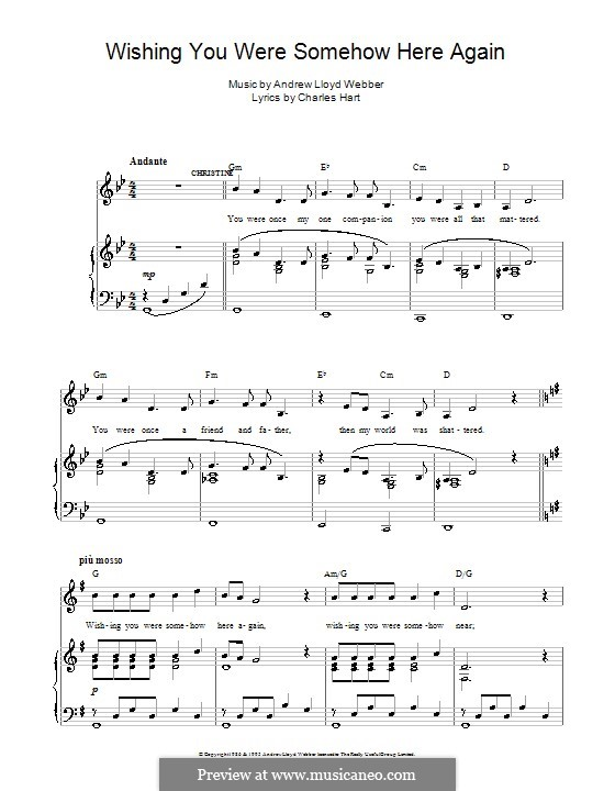 Wishing You Were Somehow Here Again: For voice and piano by Andrew Lloyd Webber