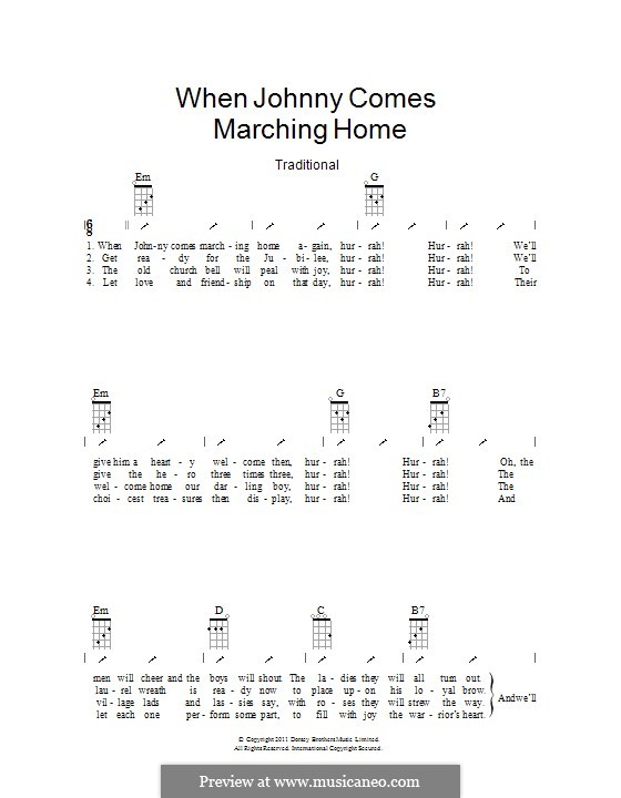 When Johnny Comes Marching Home: Ukulele with strumming patterns by Patrick Sarsfield Gilmore