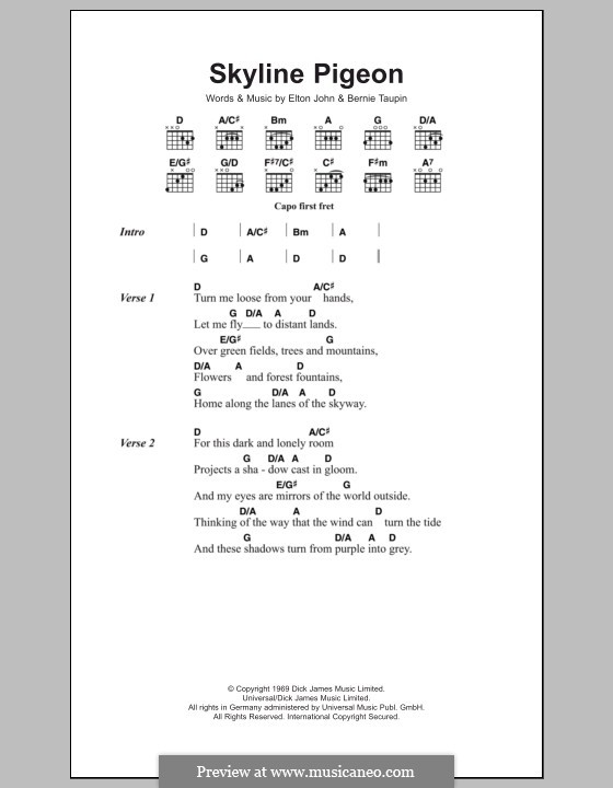 Skyline Pigeon: Lyrics and chords by Elton John