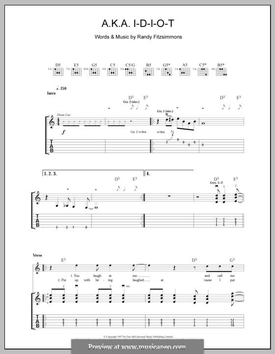 A.K.A. I-D-I-O-T (The Hives): For guitar with tab by Randy Fitzsimmons