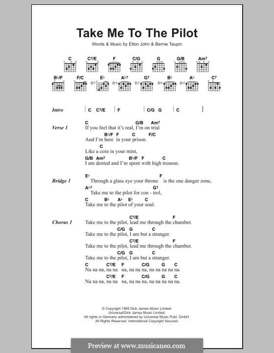 Take Me To The Pilot By E John Sheet Music On Musicaneo