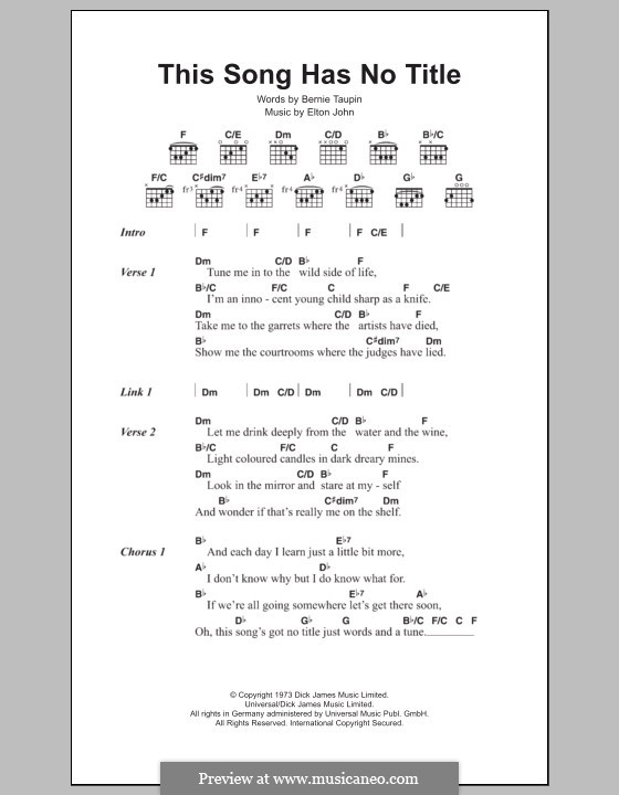 This Song Has No Title: Lyrics and chords by Elton John