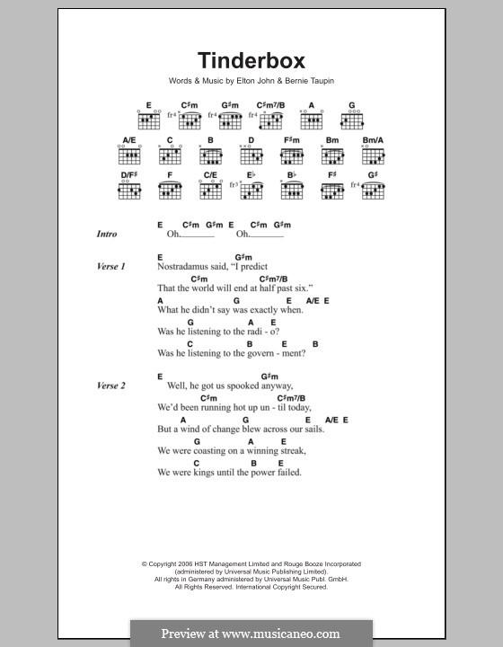 Tinderbox: Lyrics and chords by Elton John