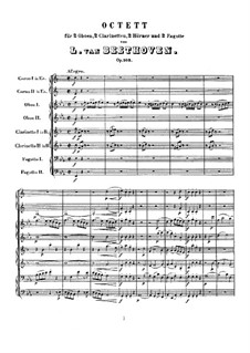 Wind Octet in E Flat Major, Op.103: Full score by Ludwig van Beethoven