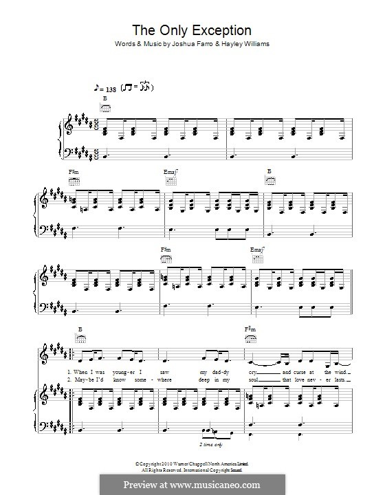 The Only Exception By J Farro Sheet Music On Musicaneo