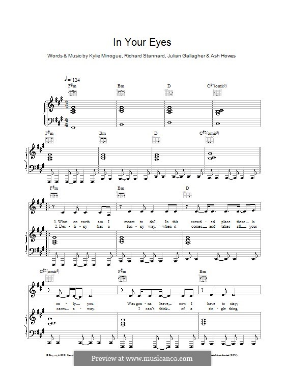 In Your Eyes: For voice and piano (or guitar) by Ashley Howes, Julian Gallagher, Kylie Minogue, Richard Stannard