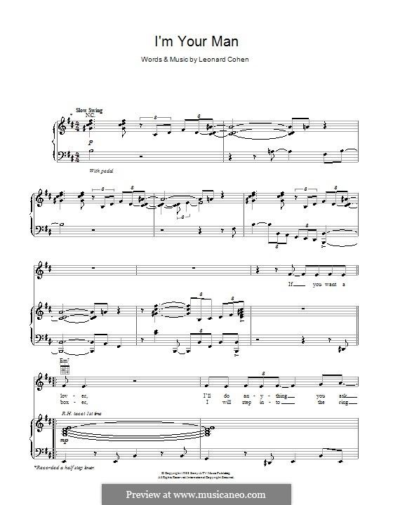 I'm Your Man: For voice and piano (or guitar) by Leonard Cohen