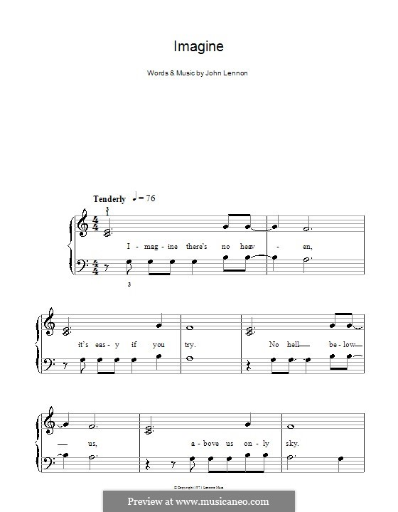 Imagine, for Piano: Version for easy piano (with lyrics) by John Lennon