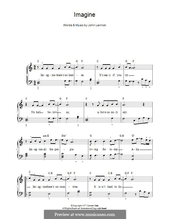 Imagine, for Piano: Version for easy piano by John Lennon