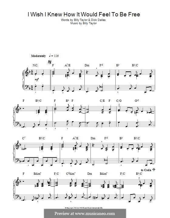 I Wish I Knew How it Would Feel to Be Free: For easy piano  (high quality sheet music) by Billy Taylor