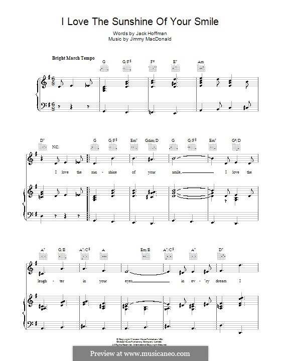 I Love the Sunshine of Your Smile (The Four Knights): For voice and piano (or guitar) by Jimmy MacDonald