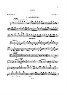 Six Themes and Variations, Op.105: Flute part (Book I) by Ludwig van Beethoven