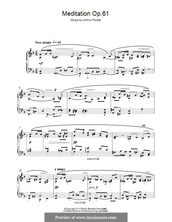 Meditation, Op.61: For piano by Arthur Foote