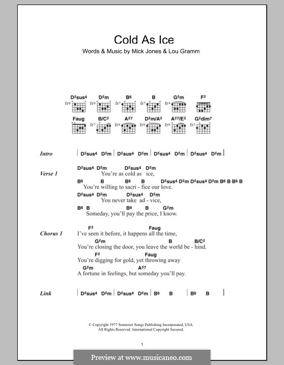 Cold As Ice Foreigner By L Gramm M Jones Sheet Music On Musicaneo
