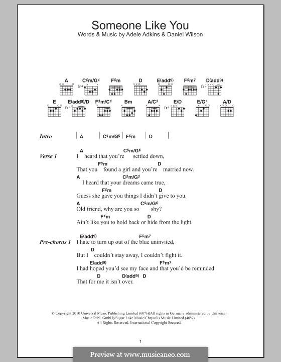 Someone Like You: Lyrics and chords by Adele, Daniel Wilson