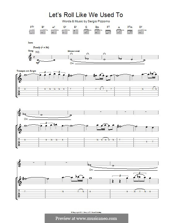 Let's Roll Just Like We Used To (Kasabian): For guitar with tab by Sergio Pizzorno
